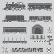Vector Set: Model Train Collection — Vettoriale Stock