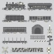 Vector Set: Model Train Collection — Stockvektor