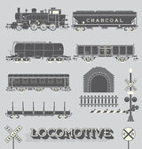 Vector Set: Model Train Collection — Stock Vector
