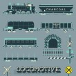 Vector Set: Model Train Collection — Stock vektor