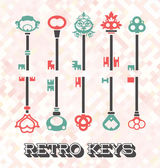 Vector Set: Retro Keys — Stock Vector