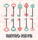 Vector Set: Retro Keys — Wektor stockowy