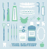 Vector Set: Dentist and Tooth Care Icons — Stock Vector