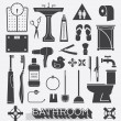 Vector Set: Bathroom Icons and Silhouettes — Stock Vector