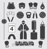 Vector Set: Boxing Objects and Icons — Vector de stock