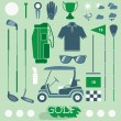 Vector Set: Golf Equipment Icons and Silhouettes — Stock Vector #45790411