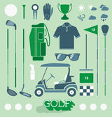 Vector Set: Golf Equipment Icons and Silhouettes — Stock Vector