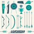 Vector Set: Archery Icons and Silhouettes — Stock Vector #46006825