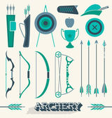 Vector Set: Archery Icons and Silhouettes — Stock Vector