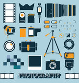 Vector Set: Photography and Camera Objects — Stock Vector