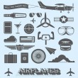 Vector Set: Airplanes and Flight Icons and Objects — Stock Vector #46424331