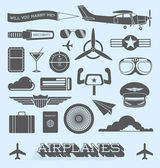Vector Set: Airplanes and Flight Icons and Objects — Stock Vector