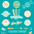 Vector Set: Candy Shop Icons and Labels — Stock Vector #46509381