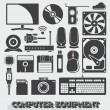 Vector Set: Computer Equipment Objects and Icons — Stock Vector
