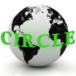 CIRCLE abstraction inscription around earth — Stock Photo #12047062