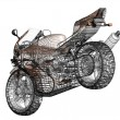 Stock Photo: 3D illustration of concept motorcycle