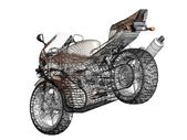3D illustration of a concept motorcycle — Stock Photo