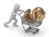 3D small man and shopping trolley — Stock Photo