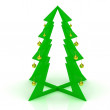 Plastic Christmas tree with yellow balls — Stock Photo