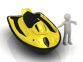 3d man and yellow jet ski — Stock Photo