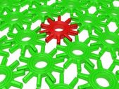 Many green plastic gears — Stock Photo