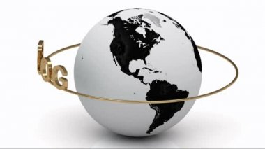 BLOG on a gold ring rotates around the earth — Stock Video