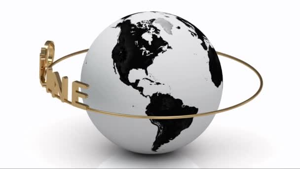 En ligne sur un anneau d'or tourne autour de la terre — Vidéo