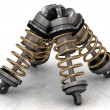 Stock Photo: Four automotive shock absorber