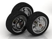 3 Black wheels of a bike — Zdjęcie stockowe