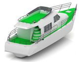 Boat with green walkways — Stock Photo