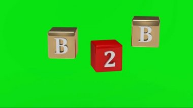 Green screen. B2B inscription white letters on gold and red cubes rotating in the air — Stock Video