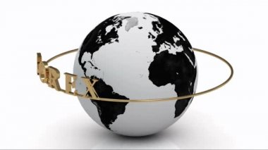 Revolving around the earth gold lettering FOREX on a gold ring — Stock Video