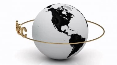 Rotating earth and the inscription gold lettering C2C around the earth on a gold ring — Video Stock