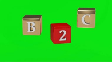 Green screen. B2C inscription white letters on gold and red cubes rotating in the air — Stock Video