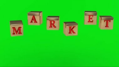 Pantalla verde. letras de inscripción roja sobre el oro en el aire girando cubos del mercado — Vídeo de Stock
