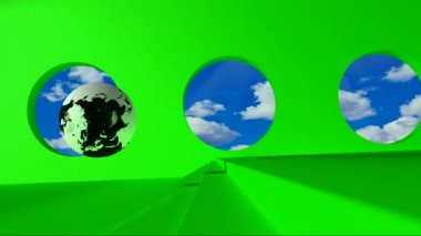 Green screen. Terrestrial globe rolling on the green room by passing clouds for round windows and stumbles upon a steel word Online — Stock Video
