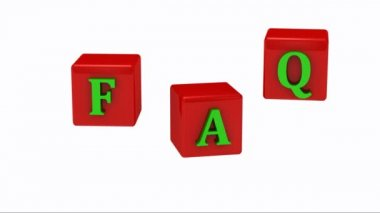 FAQ inscription bright green letters on red cubes rotating in the air — Stock Video