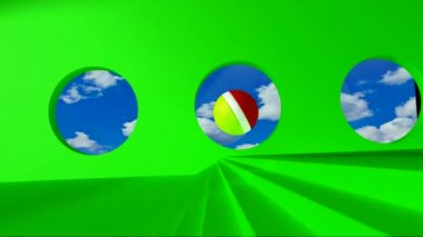 Green screen. Yellow-red ball rolls on the green room by passing clouds for round windows and stumbles upon the golden word webinar — Stock Video