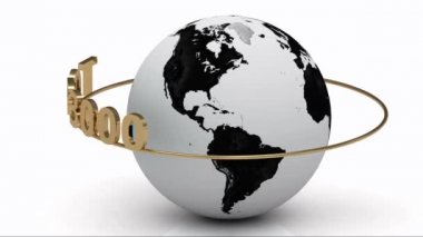 Rotating earth and the inscription gold lettering TOP 3000 around the earth on a gold ring — Stock Video