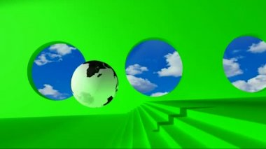 Green screen. Black and white globe rolling on the green room by passing clouds for round windows and stumbles upon the golden word Policy. — Stock Video