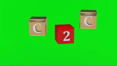 Green screen. C2C inscription white letters on gold and red cubes rotating in the air. — Stock Video