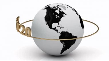 Rotating earth and the inscription gold lettering TOP 20 around the earth on a gold ring. — Stock Video
