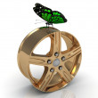 Green butterfly sits under the gold rims — Stock Photo #24778113