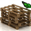 Royalty-Free Stock Photo: Green butterfly is sitting on a stack of wooden pallets