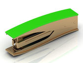 Golden stapler with a green handle — Stock Photo
