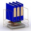 Archive documents of three blue folders on a gold stand - ストック写真