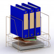Archive documents of three blue folders on a gold stand - Stock Photo