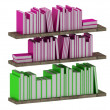 Many intelligent books on wooden shelves — Stock Photo
