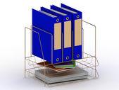 Altın bir stand üç mavi klasör arşiv belgeleri — Stok fotoğraf