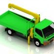 Green truck with a crane — Stockfoto